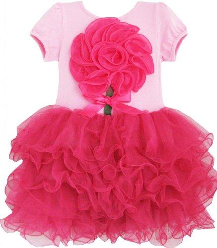 Dh94 Sunny Fashion Little Girls' Dress Rose Pink Flower Tutu Dancing Party 6