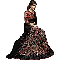 kenil fabrics black georgette designer collection women's partywear saree with embroidered blouse