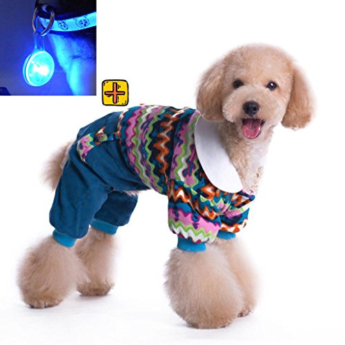 Lesypet Puppy Dog Warm Coat & Led Pendant 2In1 Apparel For Dogs Colorful Clothes Costume Dog Outwear --Blue Xx-Large