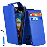Wallet Card Holder PU Leather Case Cover For Samsung Galaxy S2 I9100 Free Screen Protector + Blue
