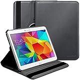 Fosmon® Samsung Galaxy Tab 4 10.1 Inch (GYRE) 360 Degrees Revolving Leather Shell Cover Case for Samsung Galaxy Tab 4 10.1 - Fosmon Retail Packaging (Black)