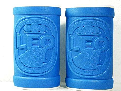 2-pcsx-leo-beer-label-embossed-on-the-bottle-or-can-cooler-holder-blue
