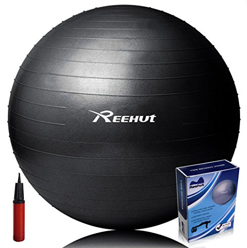 Reehut Anti-Burst Core Exercise Ball for Yoga, Balance, Workout, Fitness w/ Pump (Black, 85CM)