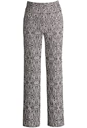 Women's Textured Black And White Printed Ankle Pants