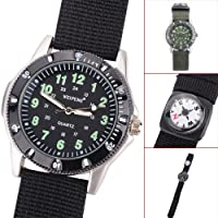 Central World Fashion Quartz Military Men Watches With Moveable Compass/Luminous Hands/Fabric & Leather Strap - Army Green/Black