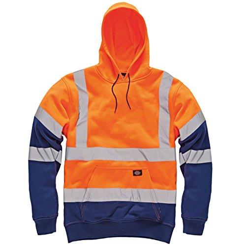 Dickies lavoro Hi Viz Vis cappuccio ad alta visibilità Felpa con cappuccio giacca con cappuccio tinta unita due tono Top riflettente da felpa con cappuccio in pile pull on Jumper grandi taglie Orange Navy / Two Tone XXX-Large