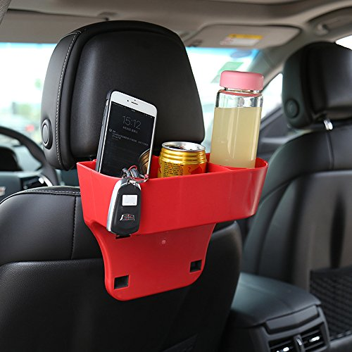 Geekercity® Universal Portable Multi-function Vehicle Auto Car Seat Wedge Cup Holder Organizer Cell Phone Holder Drinks Holder Glove Box Car Accessories - Easy To Install and Remove (Red)
