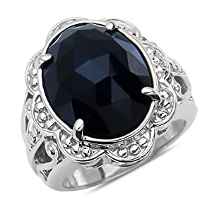 Black Onyx Fashion Ring in Sterling Silver 925