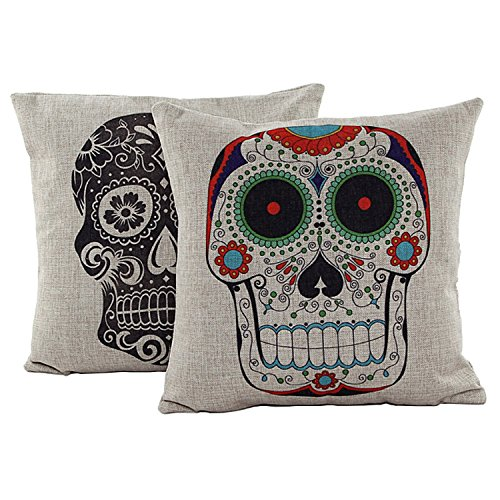 HOSL 2 Pack Skulls Pattern Cotton Linen Decorative Pillowcase Throw Pillow Cushion Cover Love You More Square about 17.3*17.3 Inch(44CM*44CM) (Skull)