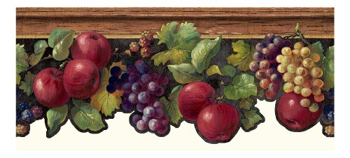 York Wallcoverings KH7131B  Kitchen and Bath Fruit and Ivy Border, Black/Brown/Red/Purple/Yellow/Green (Kitchen Wallpaper Border Grapes compare prices)