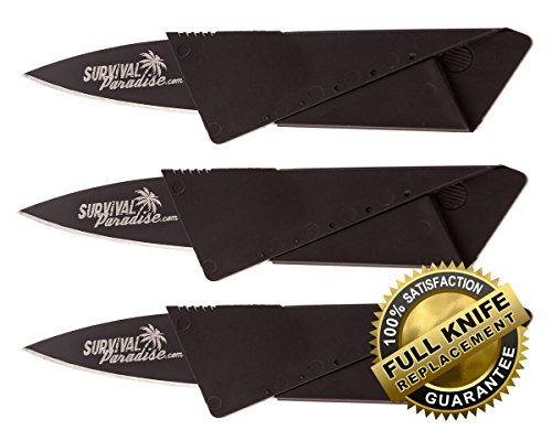 Credit Card Knife (3 pack) from Survival Paradise. This Folding Survival Tool fits easily in your wallet & comes with