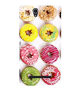 Assorted doughnuts 3D Hard Polycarbonate Designer Back Case Cover for Sony Xperia C3 Dual :: Sony Xperia C3 Dual D2502