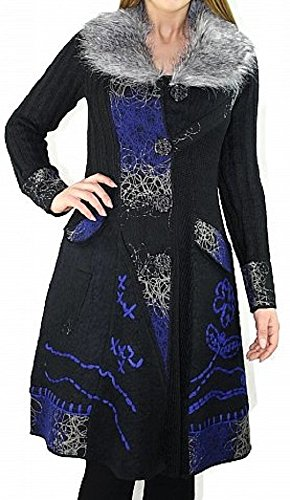 #1150 Damen Designer Patchwork Strick Mantel Fellkragen Schwarz Rot 34 36 38 40 42 44 (42, Schwarz-Blau)