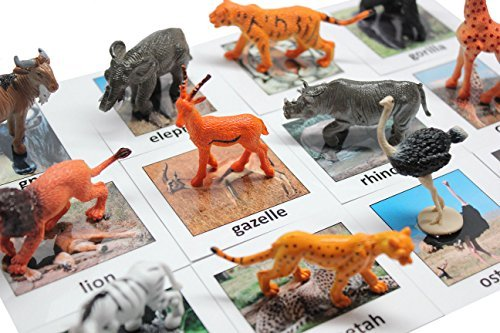 Montessori Safari Animal Match - Miniature Animals with Matching Cards - 2 Part Cards. Montessori Learning Toy, Language Materials Busy Bag