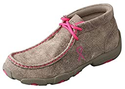 Twisted X Boots Unisix-Child Kid s Breast Cancer Awareness Dusty Tan Driving Mocs 4.5 Dusty Tan/Neon Pink