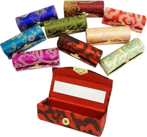 Pretty SILK ORIENTAL STYLE Silk Brocade Lipstick Holder Case WITH MIRROR