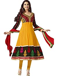 Zohraa Sonali Bendre Suits-Yellow And Black Faux Georgette Anarkali Suit VivaSonali31025
