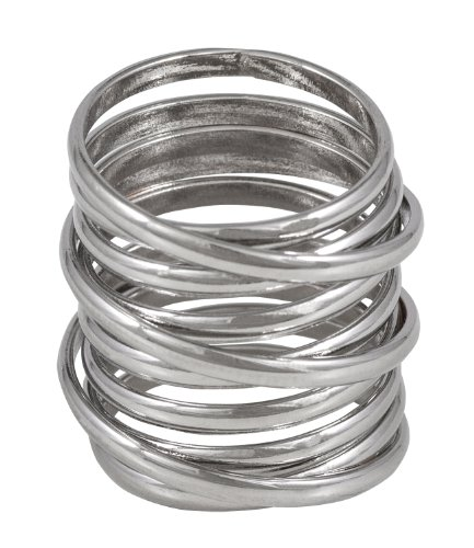 "SIX ""Blue"" silberner Ring in Form einer Metallspirale (377-013)"