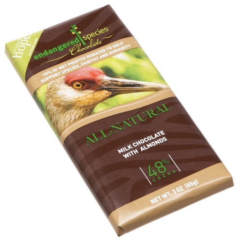 Endangered Species Sandhill Crane, Milk Chocolate (48%) with Almonds, 3-Ounce Bars (Pack of 12)