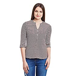 Hypernation Brown and White Stripe Cotton Top For Women