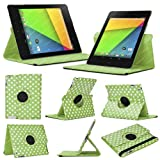 Stuff4 MR-NX7-2-L360-PD-GW-STY-SP Polka Dot Designed Leather Smart Case with 360 Degree Rotating Swivel Action and Free Screen Protector/Stylus Touch Pen for 7 inch Google Nexus 7 - Green/White