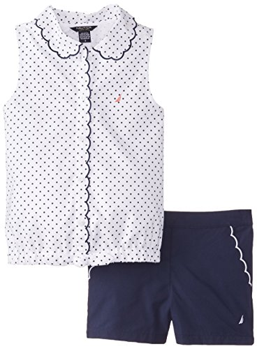 Nautica Big Girls' 2-Piece Set with Oxford Top and Woven Short, Sail White, 8