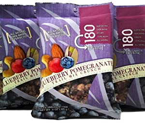 180 Snacks Blueberry Pomegranate Trail Mix Crunch - 3-ounce Pouches (Pack of 8) by Crum Creek - Indulge in Health