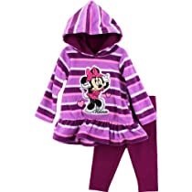 Disney Baby-girls Infant 2 Piece Mickey Mouse Pullover Hood and Pant, Purple, 12 Months