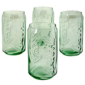4 Coca-Cola Glasses Green Tint Glass Vintage-Style Retro Coke Can Tumblers 12oz