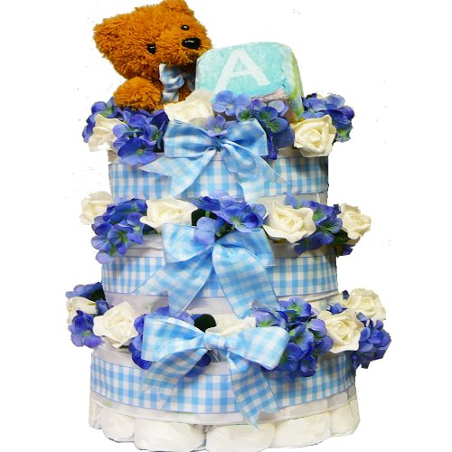 Sweet Baby BOY Diaper Cake Gift Tower with Teddy Bear