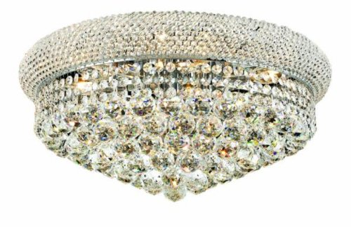 Elegant Lighting 1800F20C/Rc Primo 10-Inch High 10-Light Flush Mount, Chrome Finish With Crystal (Clear) Royal Cut Rc Crystal front-759758