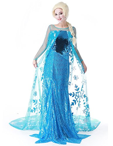 Snow Queen Elsa Fancy Dress Cosplay Costume with Wig ,Blue,medium