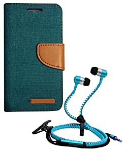 Aart Fancy Wallet Dairy Jeans Flip Case Cover for MicromaxQ380 (Green) + Zipper Earphones/Hands free With Mic *Stylish Design* for all Mobiles- computers & laptops By Aart Store.