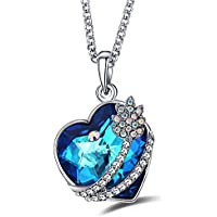 Caperci Swarovski Elements Crystal Heart Pendant Necklace with