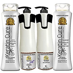 Keratin Brazilian Biological Treatment Bio Keratin Cure Chocolate Max Brazilian Keratin Straightener Treatment Full Kit Formaldehyde Free Pre Treatment Shampoo, Post Treatment Shampoo and Post Treatment Conditioner 1000 ml/33.81oz - 960 ml/32.5 oz treatment