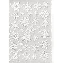 White Glitter Snowflake Stickers - Clear Back