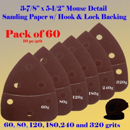 Great Deal! 60X Mouse Detail Sander Sandpaper Sanding Paper Velcro Hook & Loop Assorted 60 80 120 18...