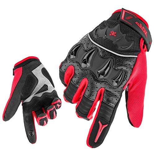 Basecamp Full Finger Bike Cycling Gloves, Unisex Anti-slip Wear-resistant Touchscreen Gloves, MTB Glove Shooting Airsoft Hunting Motorcycle Hiking Camping Bicycle Racing Gloves (Red, L)
