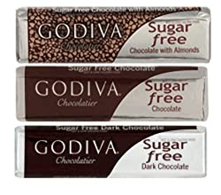 Godiva Chocoiste Sugar Free Chocolate Bar Milk, Dark &amp; Milk with Almonds 6 Pack Assortment