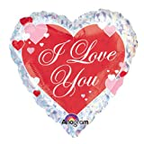 Amscan International Love You Script Hearts Foil Balloon