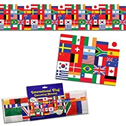 Beistle 57386 International Flag Poly Decorating Material, 18-Inch by 25-Feet