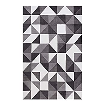 Modway R-1014A-58 Kahula Geometric Triangle Mosaic Area Rug, 5X8, Black, Gray and White