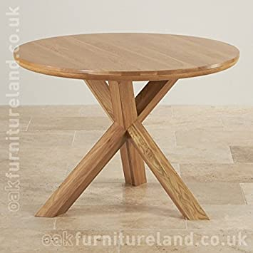 Trinity Natural Real Oak Round Table with Crossed Legs
