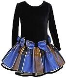 Bonnie Jean Girls Velvet Shantung Plaid Holiday Dress, Purple, 2T - 4T