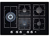 Bosch PPS816M91E - Exxcel, Frameless Black, Gas Hob, 80cm wide, 4 burners plus 4.0kw wok on left