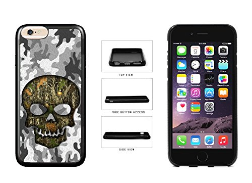 Human Skull With Camo Pattern Background TPU Rubber SILICONE Phone Case Back Cover For Apple iPhone 6 Plus (5.5 Inches Screen) comes with Security Tag and myPhone Designs(TM) Cleaning Cloth