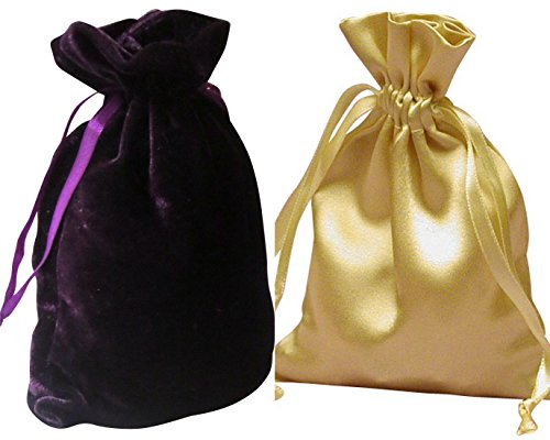 "Tarot Bags: Dark Purple Velvet and Gold Satin Luxurious Duo Bundle 6"" X 9"""