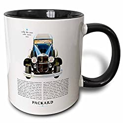 3dRose Vintage Packard Motor Company Advertising Poster Two Tone Black Mug, 11 oz, Black/White