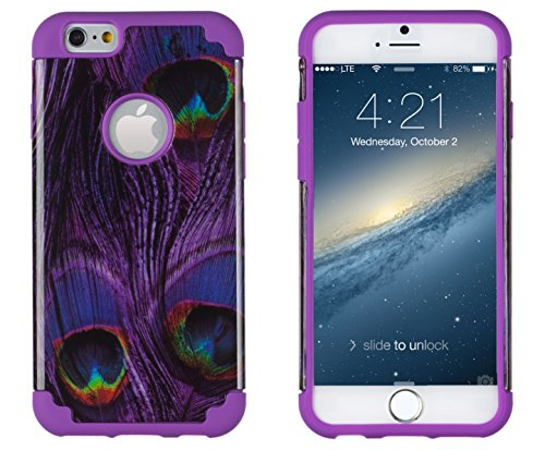 """Iphone 6, Dandycase 2In1 Hybrid High Impact Hard Purple Peacock Pattern + Purple Silicone Case Cover For Apple Iphone 6 (4.7"""" Screen) + Dandycase Screen Cleaner"""