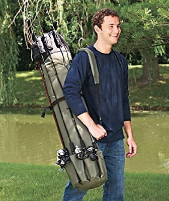 Allnice® Thickening Canvas Fishing Rod & Reel Organizer Bag Travel Carry Case Bag- Holds 5 Poles & Tackle by Allnice